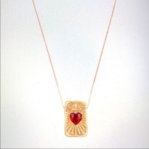 Red Heart Garnet Necklace by Pascale Monvoisin